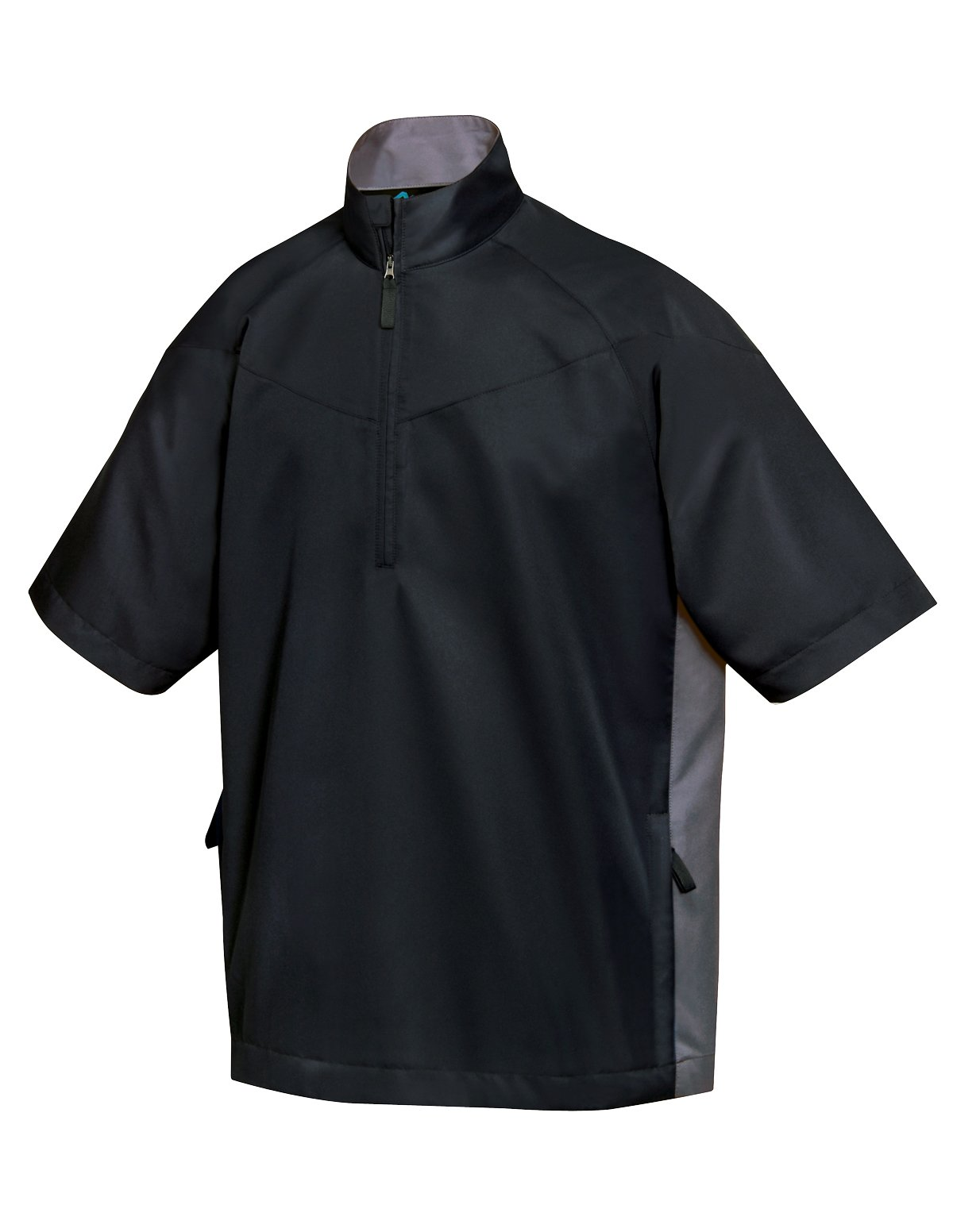 Tri-Mountain Icon Half-Zip Short Sleeve Windshirt, L, Black/charcoal by Tri-Mountain