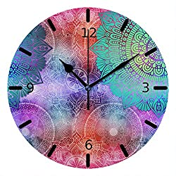 Kuizee Silent Wall Clock Non Ticking Multicoloured Mandalas Vintage Decorative Uncovered Decoration Home Office Bedroom Living Room Mute Battery Operated Clock 10Inch