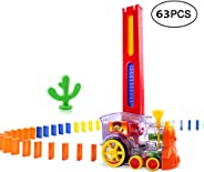 Toyfun Domino Train Toy Set Rally Electric Train Model with Light and Sound 63Pcs Colorful Domino Game Building Blocks Car T