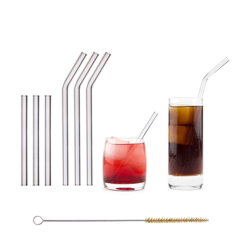 Halm Cannuccia - Cannucce in Vetro riutilizzabili - Set da 6, 2 Dimensioni - Cannucce + 1 Spazzola per la Pulizia - Senza BPA - Lavabili in lavastoviglie - Ecosostenibili - per Cocktail e frullati.