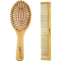 مجموعة مشط من الخيزران الطبيعي من شركة ليلي مع مشط بأسنان واسعة ومشط تصفيف للنساء والرجال والأطفال - تقلل من خشونة الشعر…