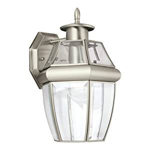 Sea Gull Lighting 8038-965 Lancaster One-Light Outdoor Wall Lantern with Clear Curved Beveled Glass Panels, Antique Brushed Nickel Finish