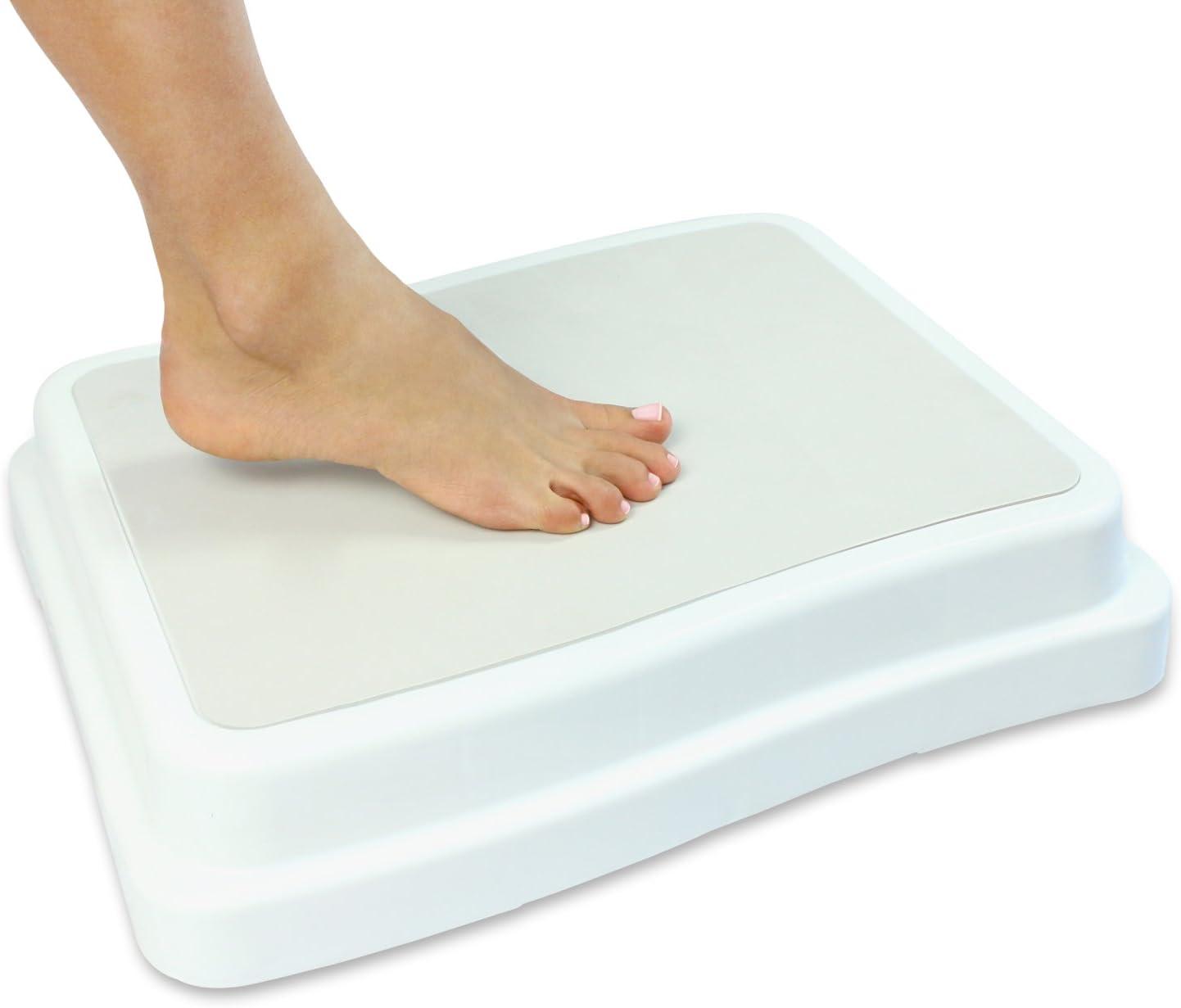 "Vive Bath Step (4"") - Slip Resistant Shower Stepping Stool - Elevated Bathroom Safety Aid for Handicap, Elderly, Seniors Entering, Exiting Bathtub - Nonslip Heavy Duty Bathtub, Bed, Kitchen Elevator"