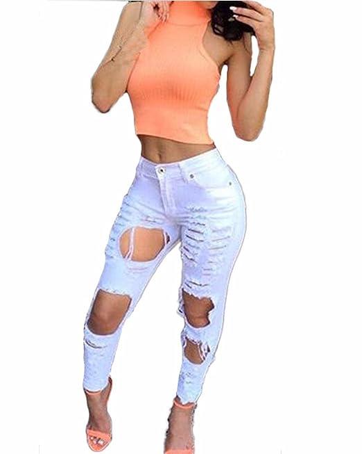 Auxo Mujeres Skinny Vaqueros del Agujero Pantalones Rasgados ...