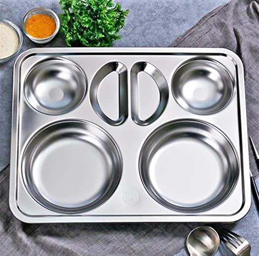 5 Compartment Sectional Stainless Steel Sectional Food Serving Tray Camping