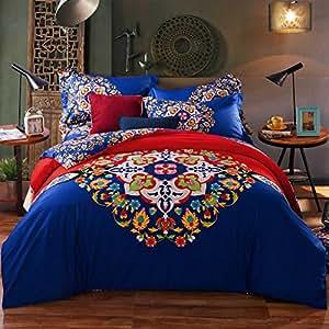 Amazon Com Newrara 4 Piece Boho Bed Sheet Set 100 Cotton