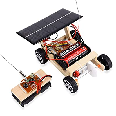 Yamix Wood Solar and Wireless Remote Control Car Robotics, DIY Assembly Solar Powered Car Kit Science Educational Kit Stem Building Kit for Kids Students Boys Girls: Toys & Games