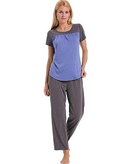 8d0ab5758ed ENIDMIL Womens Soft Cotton Pajama Set Short Sleeve Top and Long Pants  Bottom Sleepwear Loungewear PJ