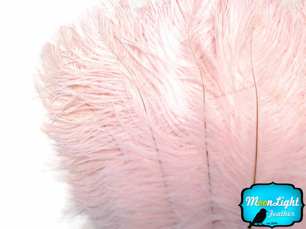 Ostrich Feathers , 1/2 Lb - Baby Pink Large Ostrich Drab Feathers 17-21 Inches