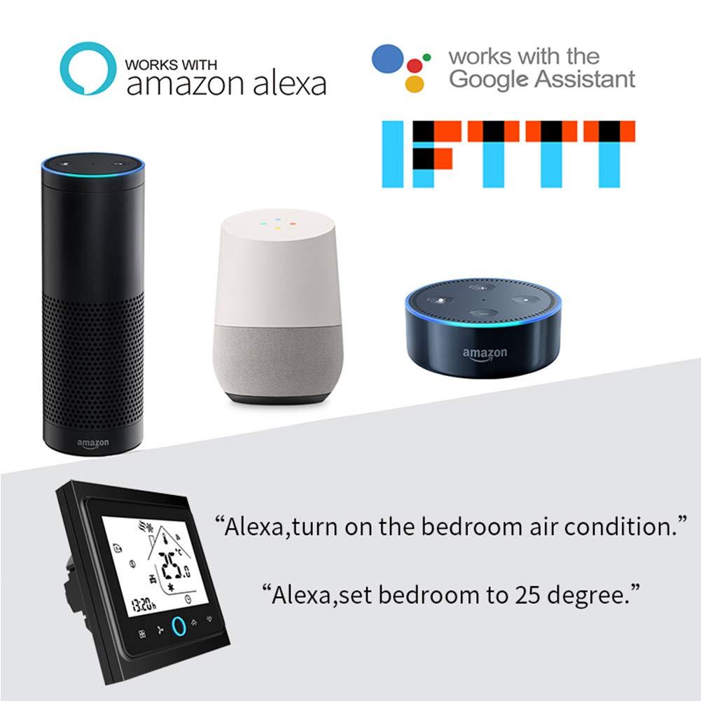 Contr/ôleur de temp/érature Wifi Thermostat WIFI Climatisation intelligente Contr/ôleur de temp/érature programmable avec /écran LCD /à 4 tubes Compatible avec Alexa Google