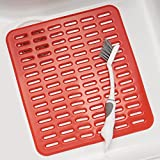 mDesign Kitchen Sink Protector Mat  - Small, Red