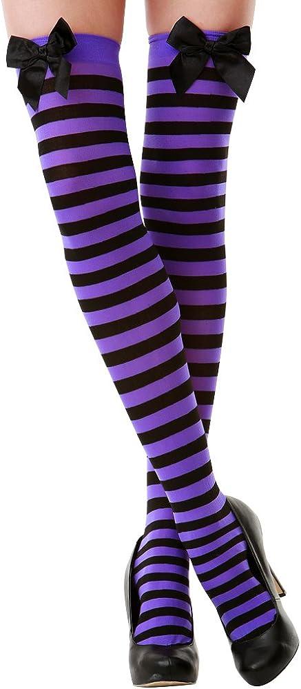 Purple & Black Stripe Thigh-High Halloween Adult Women's Cosplay Costume Tights