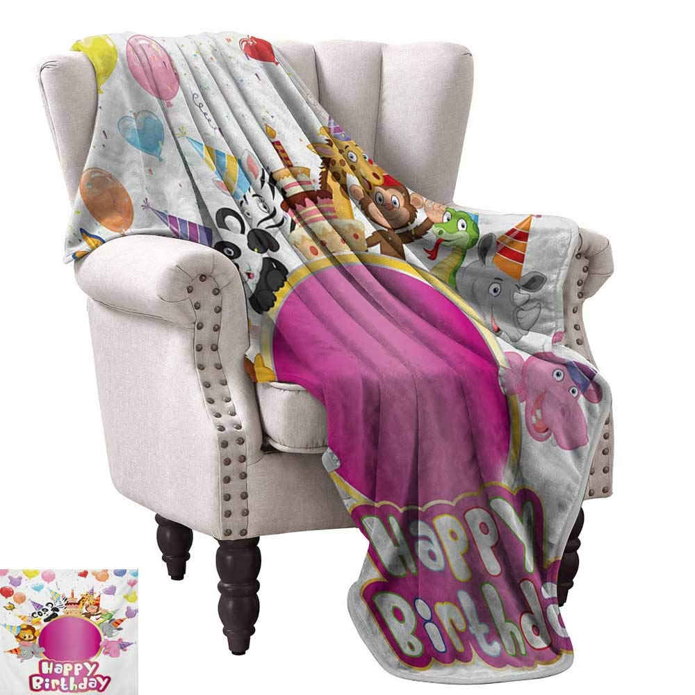 color09 70 Wx84 L WinfreyDecor Kids Birthday Living Room Bedroom Warm Blanket Baby Owl Bird Party Cupcake Tasty Creamy Cake on colorful Polka Dots Backdrop Home, Couch, Outdoor, Travel Use 60  Wx60 L Multicolor