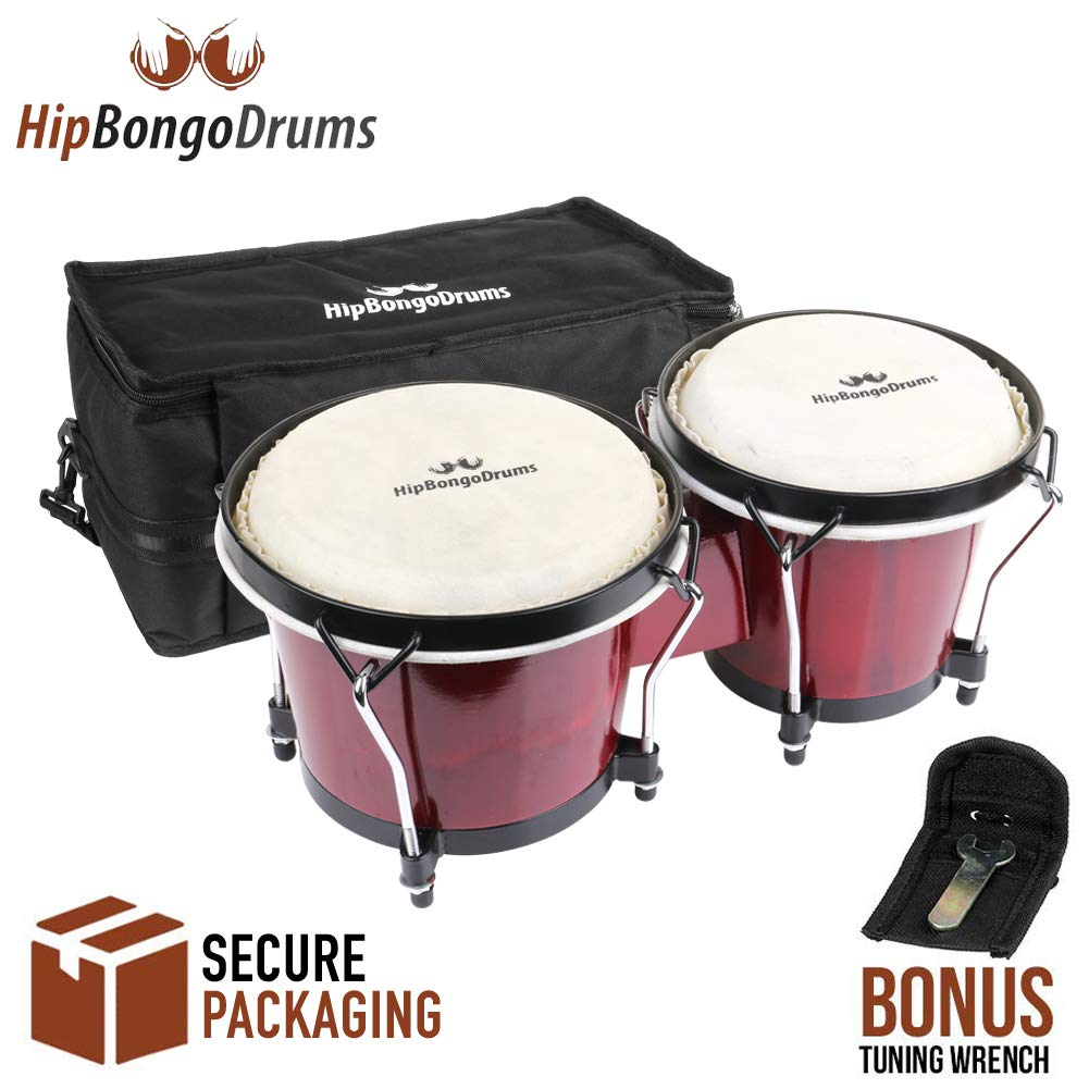 """Bongo Drum Set for Adults Kids Beginners Professionals [Upgrade Packaging] - 2 Sets 6"""" and 7"""" Tunable Cherry Percussion Instruments - Natural Animal Hides Hickory Shells Wood Metal with Tuning Wrench"""