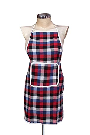 Fashion Hub™ Waterproofs Free Size Kitchen Apron with Front Pockets in Pink (Pack of 1)