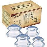 吸玉 真空 シリコーン マッサージカップ 吸い玉 マッサージ カッピングセット ために筋肉痛救済,男女兼用,透明,4個,S