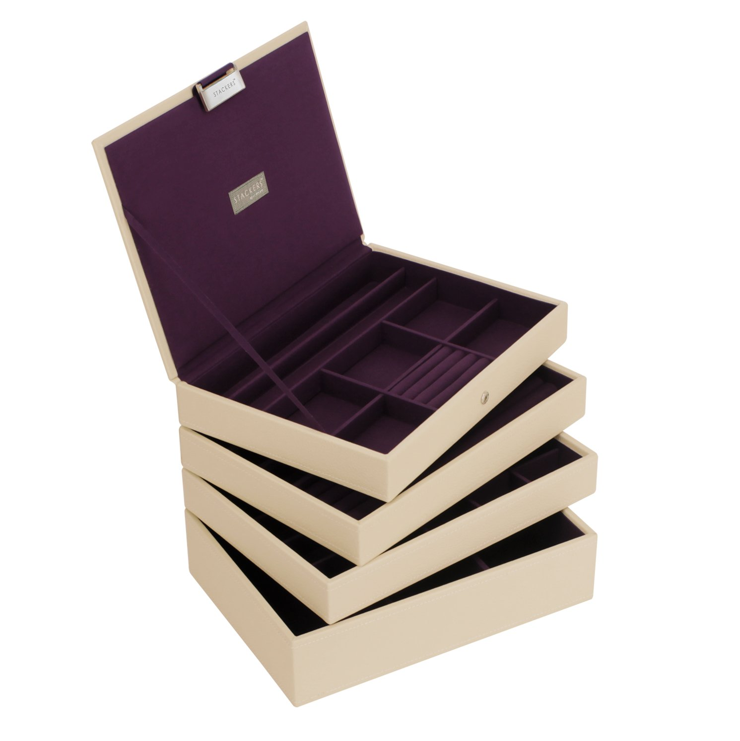 Cream STACKER Set of 4 Stacking Jewellery Box with Purple Lining STACKERS Set of 4 /'CLASSIC SIZE/'