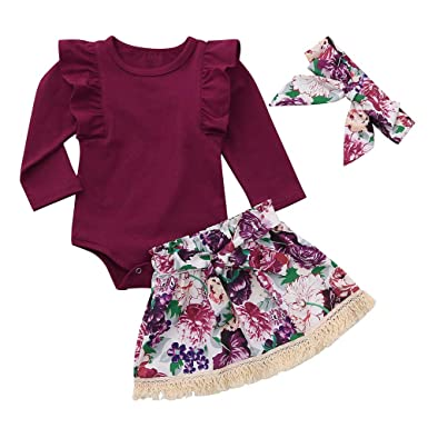 4fde03806 2018 3PCS Infant Toddler Baby Girls Long Sleeve Romper Jumpsuit + ...
