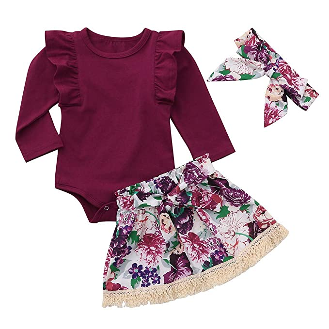 bc5a03b4bf2c8 2018 3PCS Infant Toddler Baby Girls Long Sleeve Romper Jumpsuit + ...