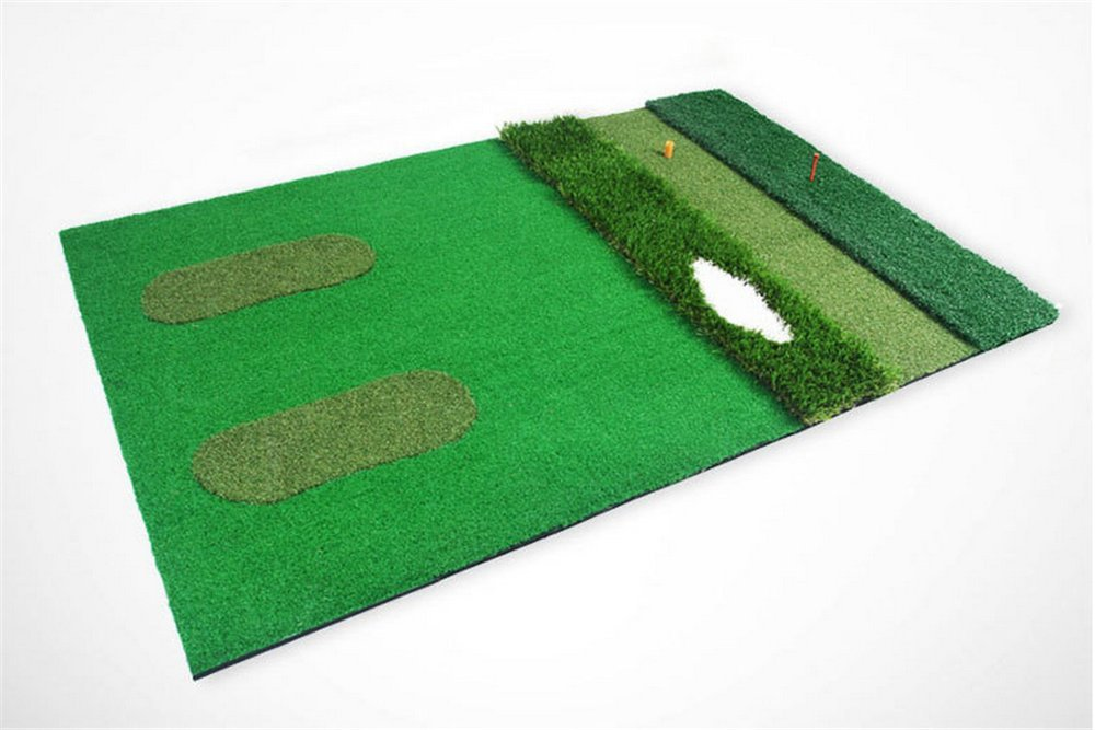 3'x5' Golf Hitting Practice Mat Tri-Turf Residential Golf Chipping and Driving Swing Grass Mat for Indoor Outdoor Backyard