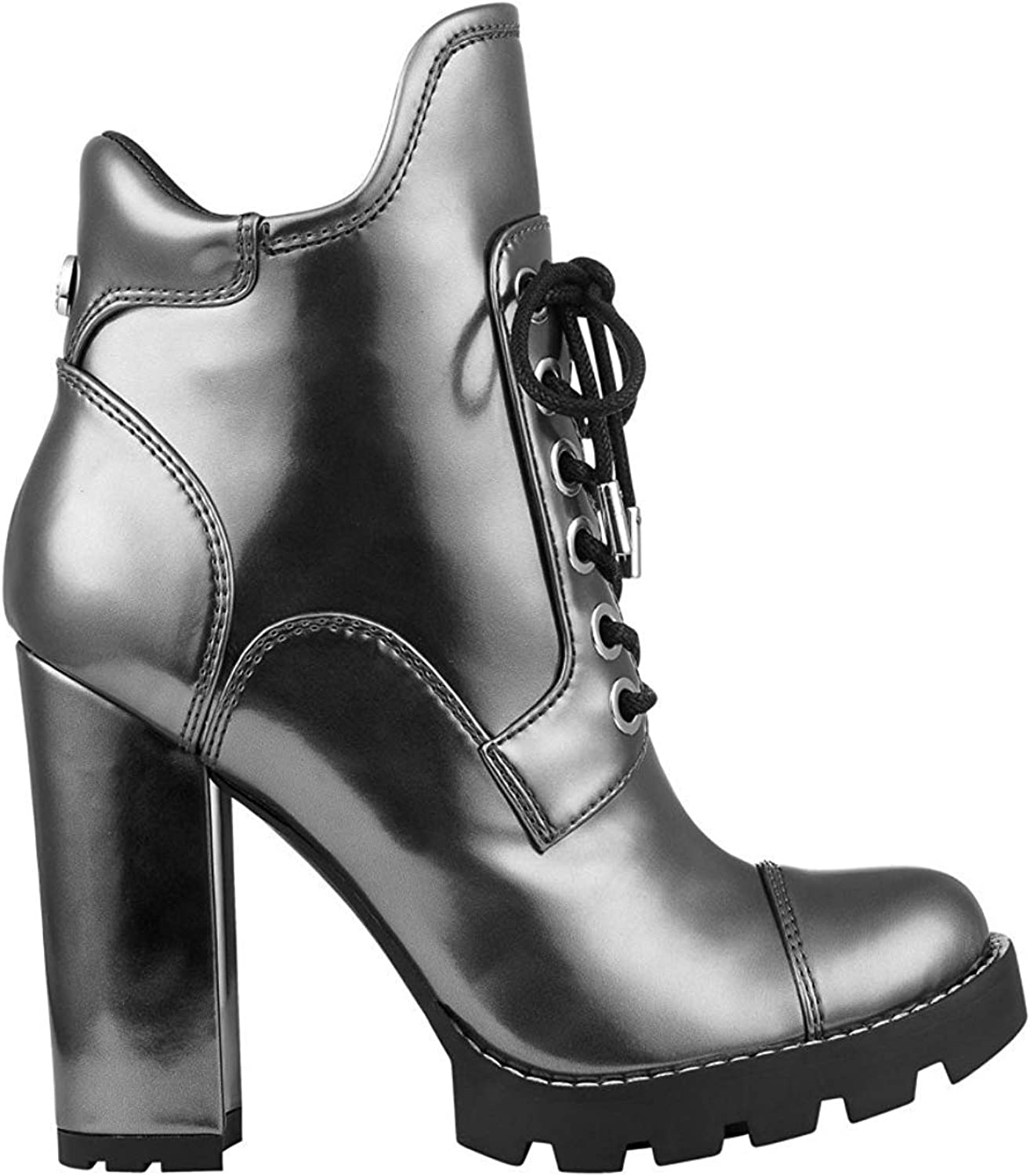 GUESS Womens Roxey 4 Faux Leather Lace-Up Ankle Boots