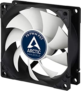 ARCTIC F8 PWM PST- 80 mm PWM PST Case Fan with PWM Sharing Technology (PST), Very Quiet Motor, Computer, Fan Speed: 300-2000 RPM - Black/White