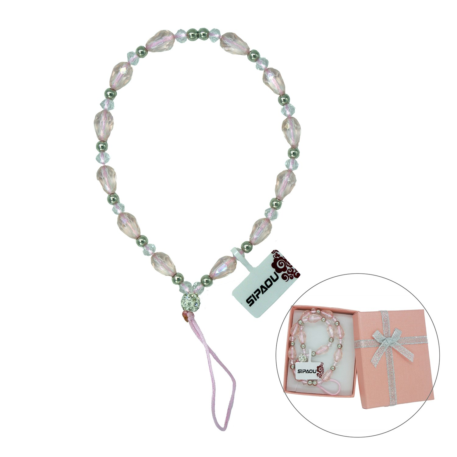 SIPAOU Women's Fashion Cell Phone Lanyard Strap, 7.8 Inch Bling Crystal Beads Hand Wrist Lanyard Strap String for Cell Phone Purse Camera MP3 MP4 iPod PSP Keychain, Gift Box Included(Short Pink) by SIPAOU (Image #1)