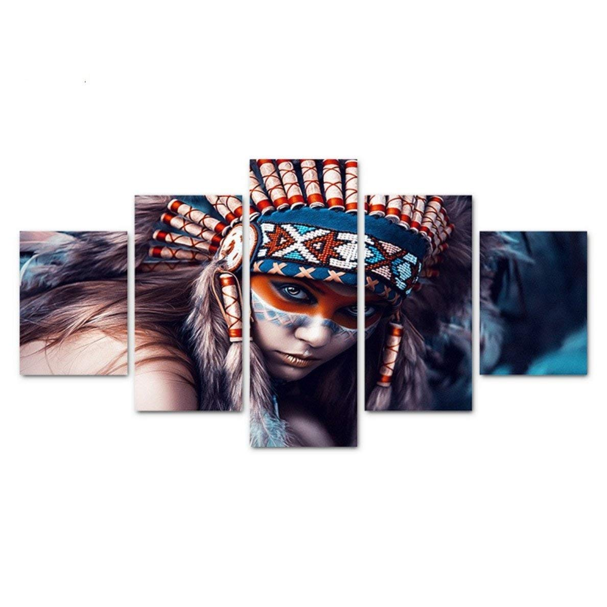 BE GOOD 5 Panel Wall Art Set Native Indian Girl Contemporary Oil Painting Canvas Prints Modern Home Decoration for Living Room Bedroom or Hotel Office Decor Gift Piece