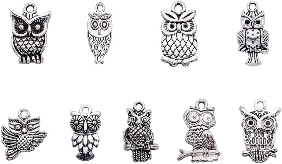 LoveinDIY 30pcs Mixed Owl Charms Pendant Jewelry Making Accessories