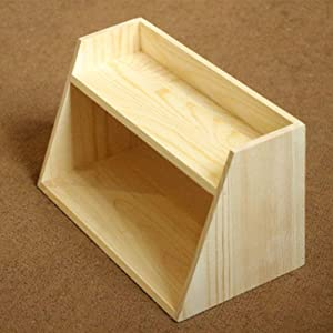 XHCP Desktop Bookshelf Storage Shelf Organizer with Natural Wood Grain Cosmetic Jewelry Display Storage Tray for Office S.