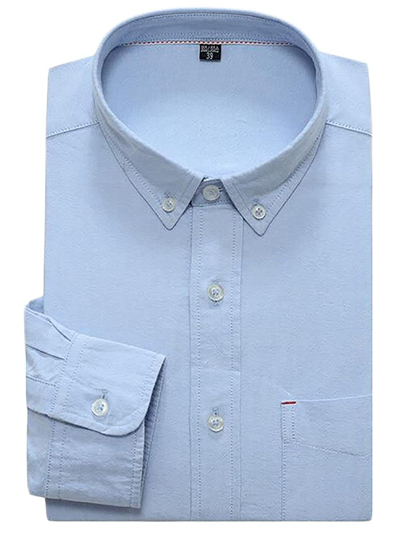 Sweatwater Mens Long Sleeve Slim Button Down Business Oxford Dress Shirts