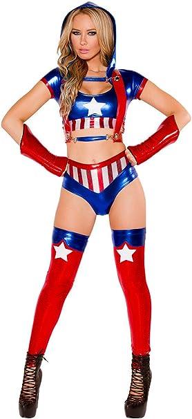 Disfraz metálico de Capitán América para mujer, disfraz de Hero ...