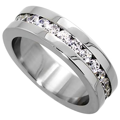 Amazoncom Surgical Stainless Steel 6mm Cubic Zirconia Eternity