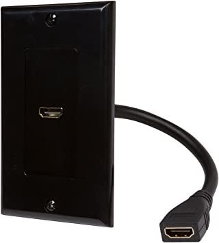 HDMI Wall Plate w// 6 Inch Pigtail Built In Hi-Speed Flexible HDMI Cable Black