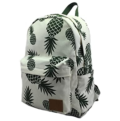 FL Women's Canvas Lightweight Pineapple Backpack Travel Bag School Bag Daypack