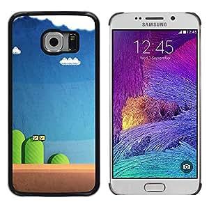 Juego de ordenador azul Pc retro azul - Metal de aluminio y de plástico duro Caja del teléfono - Negro - Samsung Galaxy S6 EDGE (NOT S6)