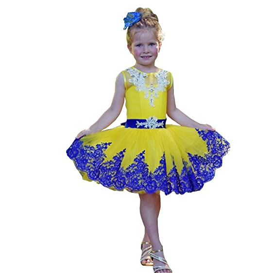 Amazon.com: Banfvting Mini Prom Dress Little Girls Yellow Tutu Gown ...