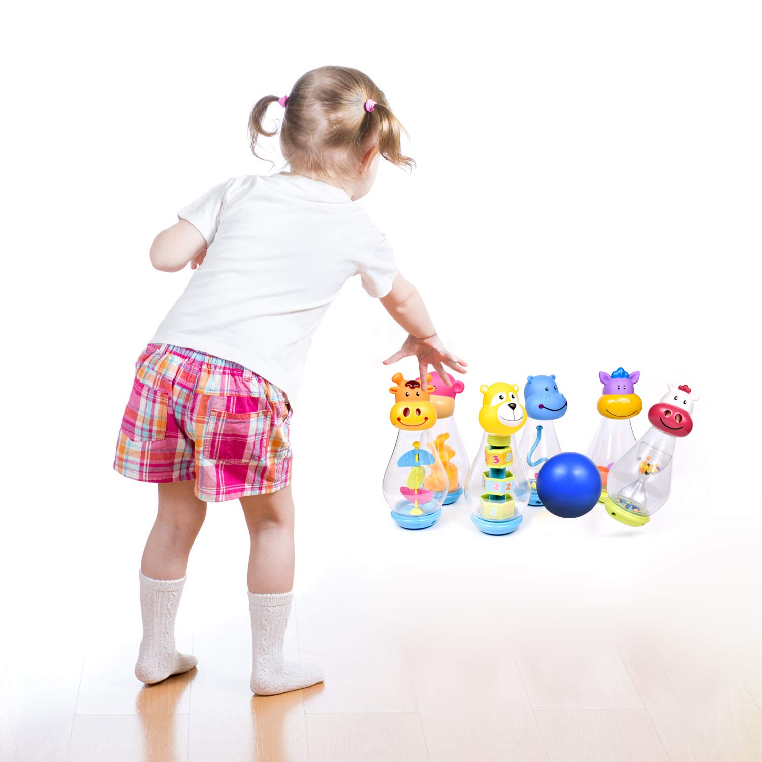 Bowling Set for Toddlers with 6 Animal Head Bowling Pins and 2 Bowling Balls, Toddler Outdoor Toys, Bowling Game for Kids by FUN LITTLE TOYS (Image #2)