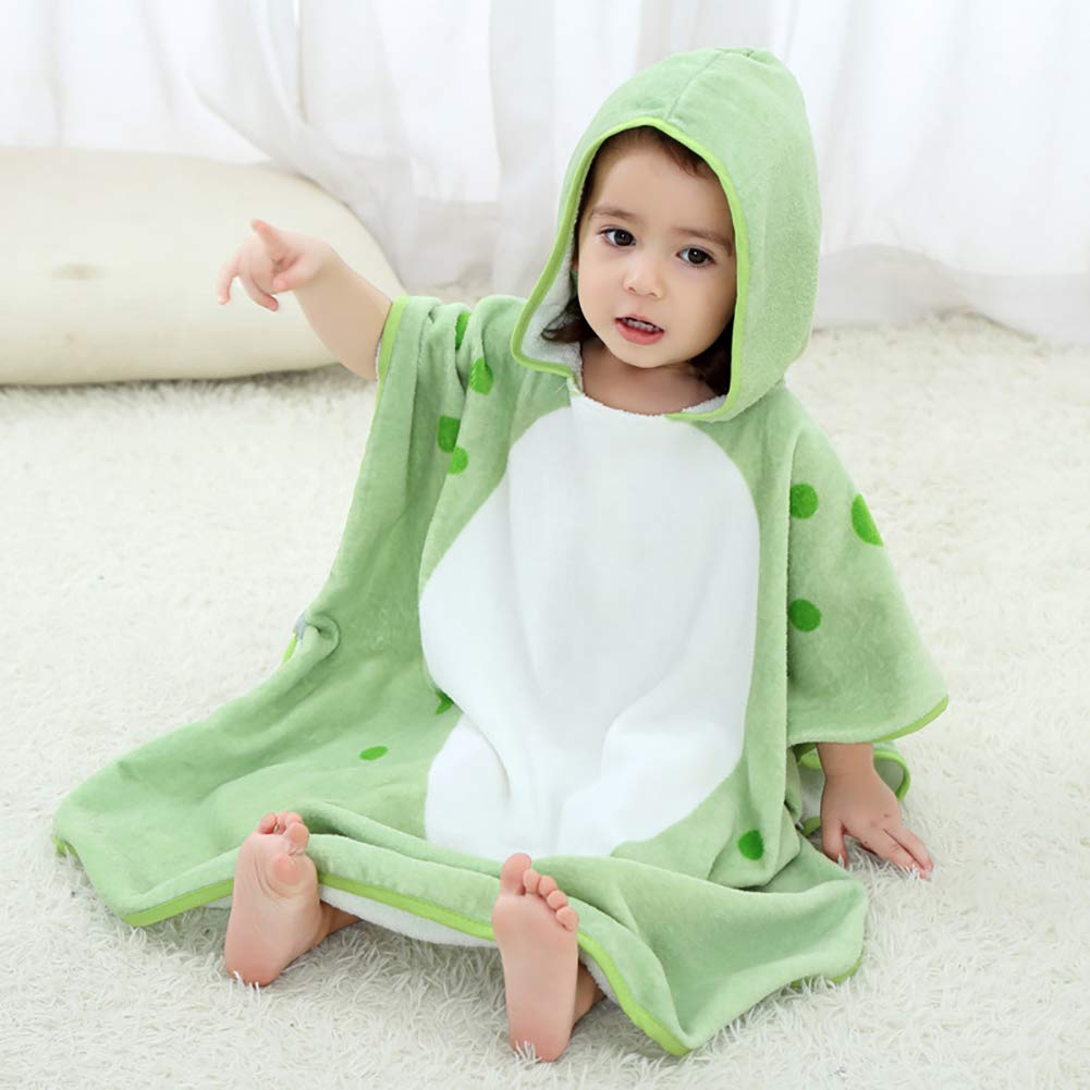 XXRBB Hooded Towel Bath Robe Cartoon Animals, Cotton Soft Super Absorbent Poncho Kids Childrens Cloak,for 0-6 Years Old Baby,70x140cm(28x55inch),Green by XXRBB