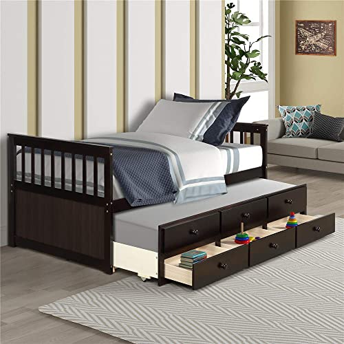 Solid Wood Mate's Captain's Bed Twin