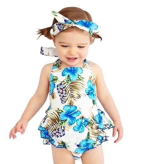 1f987cb68f6 Sunbona 2pcs Infant Baby Girls Romper Newborn Summer Floral Print Ruffles  Jumpsuit+Headband Outfits (