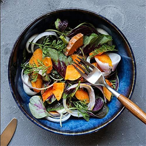 Ceramic Rice Soup Salad Bowls Japanese Fruit Salad Creative Large Bowl Bowl Soup Bowl Dish Bowl Soup Soup Retro Tableware Household Commercial Microwave & Dishwasher (Color : Blue, Size : 23x10cm)