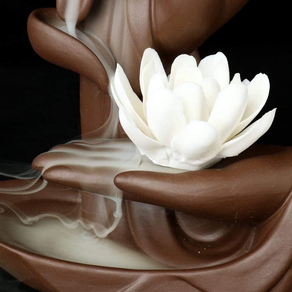 Lotus Flower/Monk Backflow Incense Burner, Large Handmade Ceramic Backflow Cone Sticks Incense Holder Home Decor Craftwork Figurine with 10 pcs Incense Cones (White Lotus) by FENBEN (Image #6)