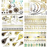 ARE YOU READY TO SHINE? The very latest jewelry-inspired metallic temporary tattoos for women, who really want to stand out from the crowd. 8 Sheets of the very latest designs, over 100 tattoos in all, massive value. Buy more packs and save even more...
