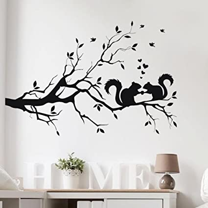 Wall StickersGeyou Removable Squirrel On Long Tree Branch Sticker Wallpaper For Kids Home