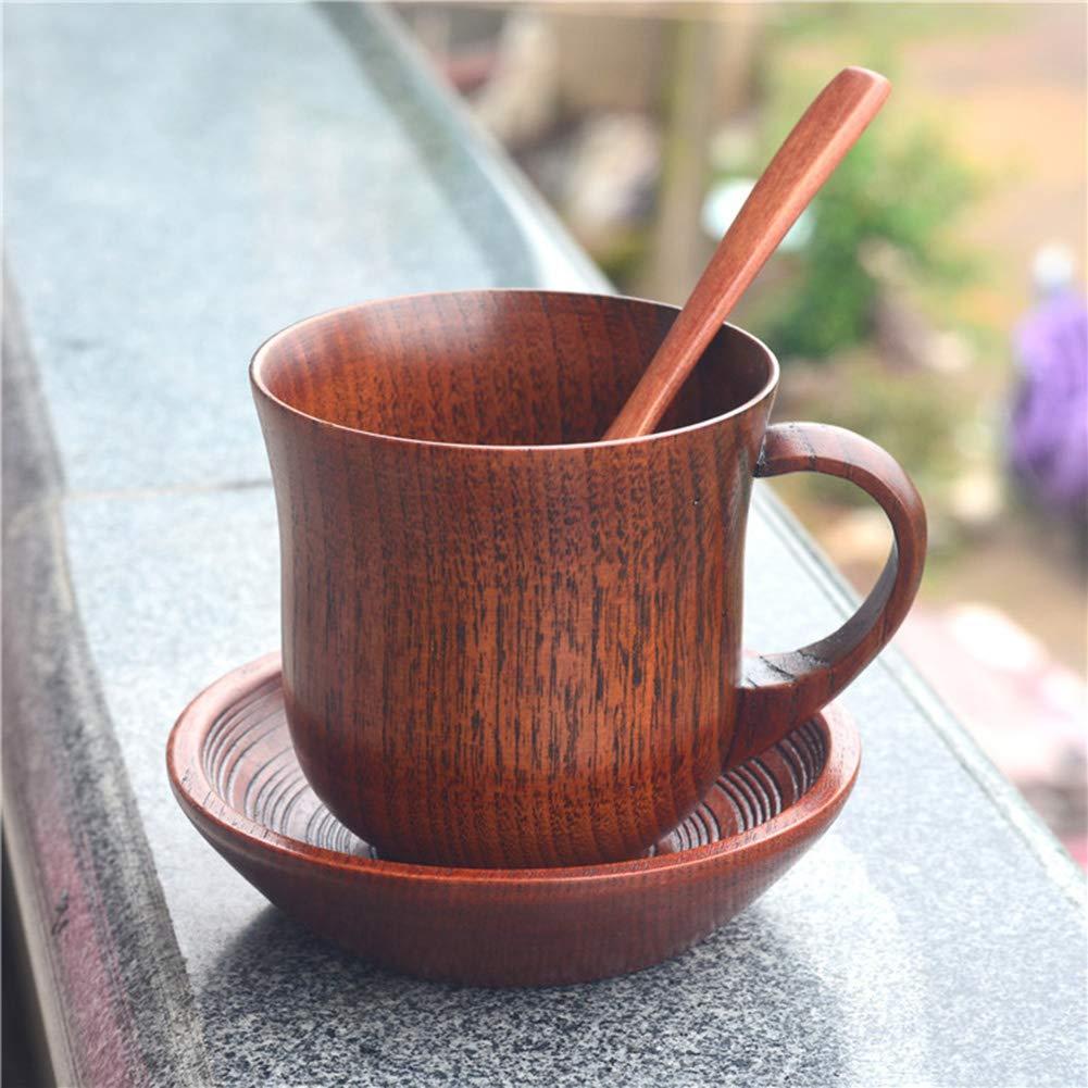 Denret3rgu Tasse en Bois Fait Main caf/é th/é bi/ère jus de vin Lait Barre deau Lait Tasse Cuisine Cadeau Khaki Cup