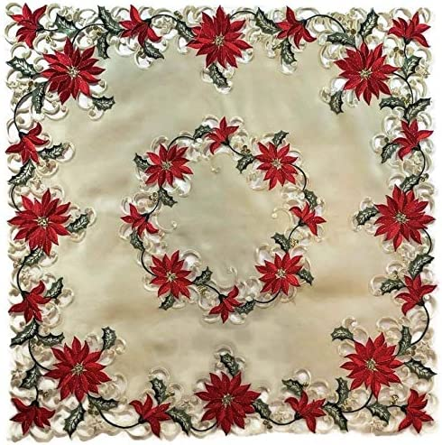 """Embroidered Christmas Candle Poinsettia Table Topper Tablecloth 36/"""" Square RED"""
