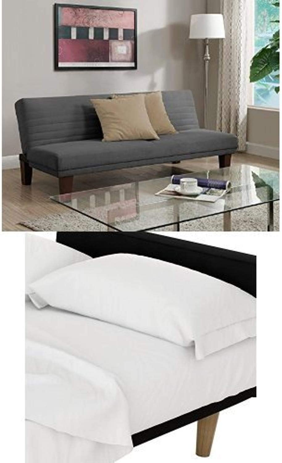 DHP Dillan Convertible Futon Couch Bed, Gray and Futon Sheet Set, White