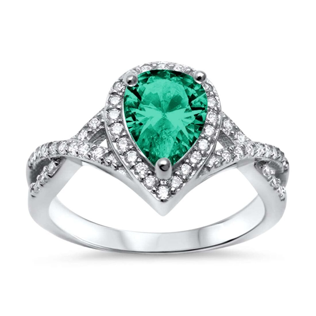 Blue Apple Co. Halo Teardrop Wedding Promise Ring Infinity Accent Simulated Green Emerald CZ Round CZ 925 Sterling Silver, Size-7