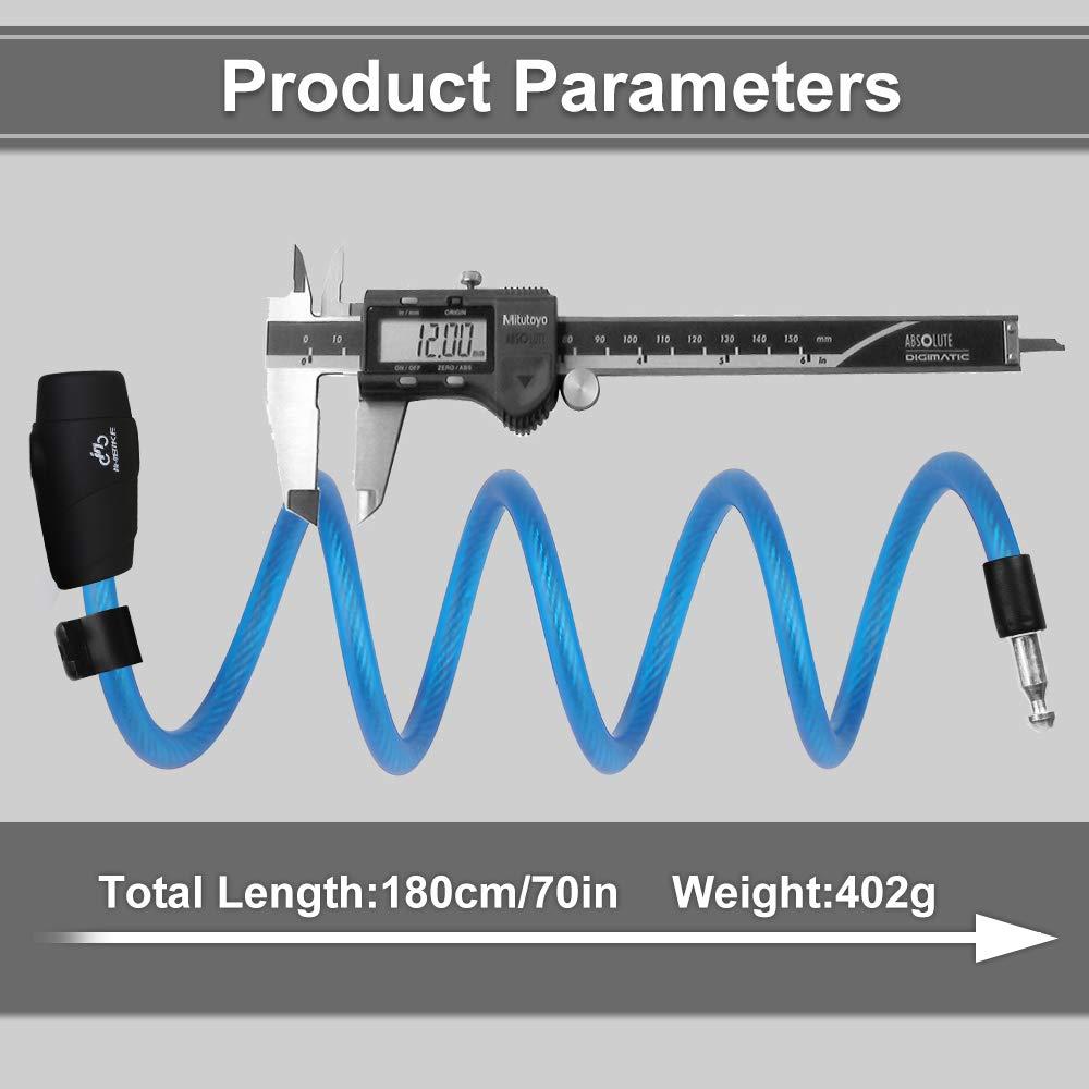 Nasharia 180 cm//12 mm, Muy Alto, con Llave y Cable met/álico Candado para Bicicleta